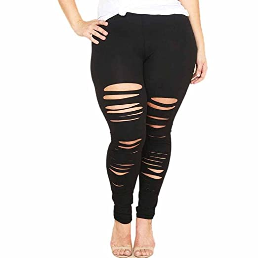 3f8dab7b703 Clearance! Napoo Women Plus Size Ripped Holes Sport Elastic Pants Leggings  (L