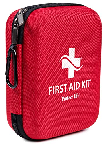 First Aid Kit - 150 piece - for Car, Home, Outdoors, Sports, Camping, Hiking or Office | Red case w/ reflective cross fully packed with emergency supplies