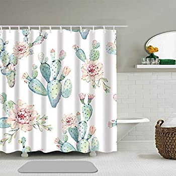 Abili Shower Curtain Flower Watercolor Saguaro Cactus Hand Painted It Perfect Succulent Bathroom Decor Waterproof Polyester Fabric 72 x 72 Inches Set with Hooks