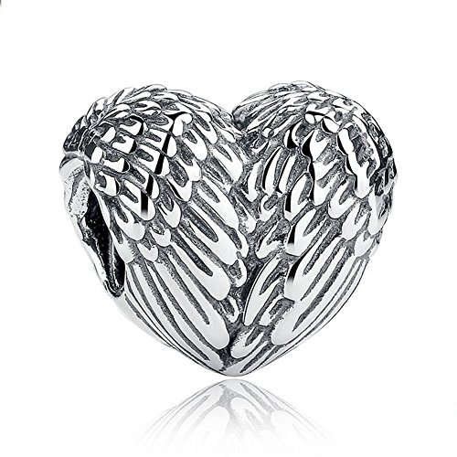Sterling Silver Heart Bead - Antique 925 Sterling Silver Angel Wing Heart Charm Bead fit Fashion Charms Bracelets