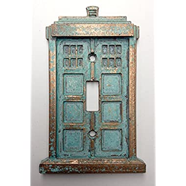 Tardis (Dr Who) Light Switch Cover (Custom) (Copper/Patina)