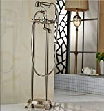 GOWE Nickel Brushed Floor Mount Bathroom Waterfall Free Standing Bath Tub Faucet Set Bathtub Mixer Faucet with Handshower