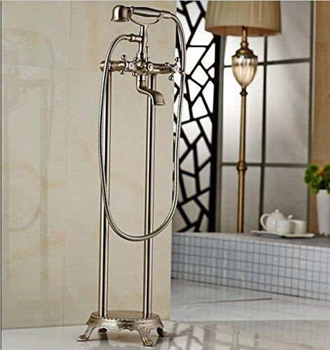 GOWE Nickel Brushed Floor Mount Bathroom Waterfall Free Standing Bath Tub Faucet Set Bathtub Mixer Faucet with Handshower (Freestanding Waterfall)