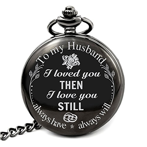 Pocket Watch Case Open (Pocket Watch To My Husband I Loved You Then I Love You Still Necklace Chain From Wife to Husband Valentines Day Gifts for Him Surprise Gifts for Men)