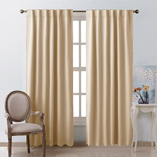 Window Treatment Room Darkening Curtains - (Warm Beige Color) 52 Width X 84, 1 Pair, Curtains and Drapes for Bedroom by NICETOWN (Curtains Hanging 84 Inch)