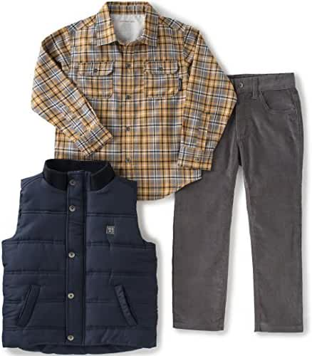 Calvin Klein Baby Boys' Shirt, Vest and Corduroy Pants Set