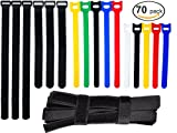 #5: Ceeyali Reusable Fastening Cable Ties Cable Straps for Wires Organization Wire Management Pack of 70