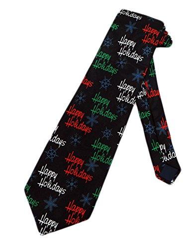 Necktie Black Background (Steven Harris Mens Happy Holidays Necktie - Black - One Size Neck Tie)