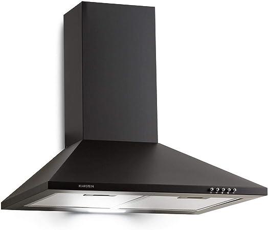 Klarstein Zugspitze 60 Campana extractora - Extractor de pared, Extractor de humos, 65 W, Absorción de 310m³/h, Ventilación y absorción, Iluminación LED de la cocina, Filtro de grasa, Negro: Amazon.es: Hogar