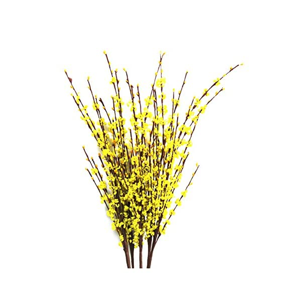 10 Pieces Winter Jasmine PE material Artificial Flower DIY Bouquet Fake Flower for Home/Wedding Decorations 30″ Long (yellow)