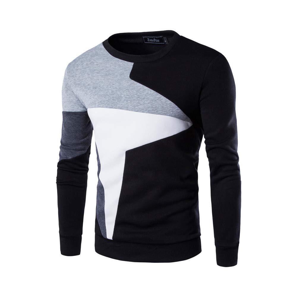 WUAI Clearance Men's Casual Pullover Long Sleeve Slim Fit Patchwork Crewneck Fashion Top Blouse(Black,US Size M = Tag L)