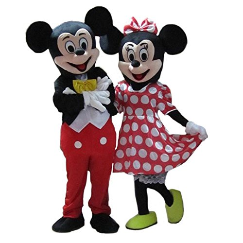 Couple Mickey & Minnie Mouse Adult Mascot Costumes + Free (Mickey Mouse Costumes Men)
