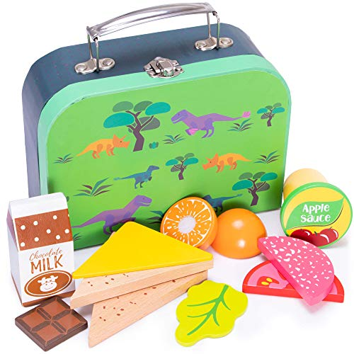 Prehistoric Dinosaur Lunch Box Playset | Wood Eats! Pretend Play Food Toy | Includes Jurassic T-Rex Children's Accessory and Complete, Healthy, Wooden Meal For Travel and Kitchen Fun | 12 Pieces ()