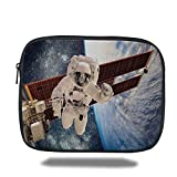 Laptop Sleeve Case,Outer Space Decor,International Station Global Communication Orbiting over Earth Rocket Photo,Multi,iPad Bag