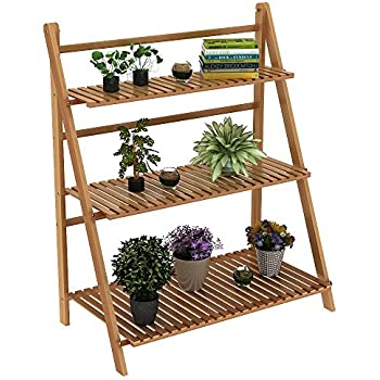 Amazon.com : Foldable Wooden Plant Stand for Outdoor or