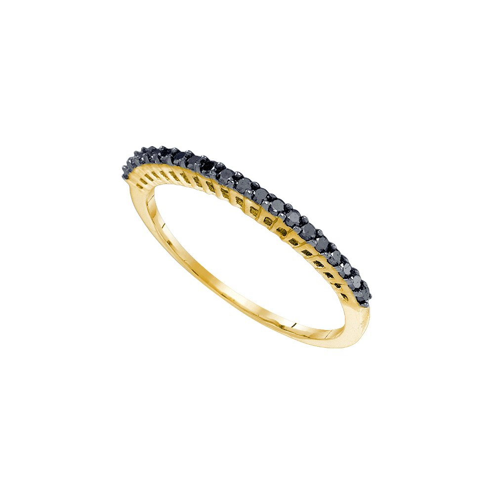 Black Diamond Wedding Band 10k Yellow Gold Stackable Ring Anniversary Style Round Pave Delicate 1/4 ctw