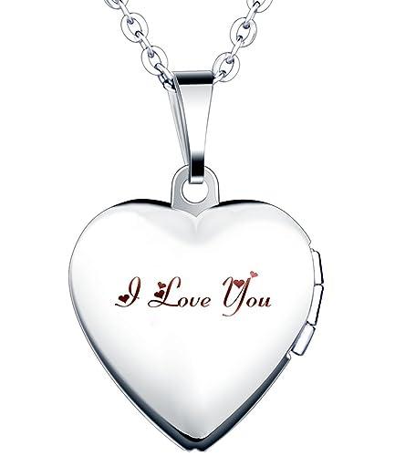 Yumilok Acero Inoxidable I Love You Grabado Foto Medallón Ovalado Photo Imágenes Amuleto Plata Colores Rosa/Azul Corazón Colgante Collar para Mujer ...