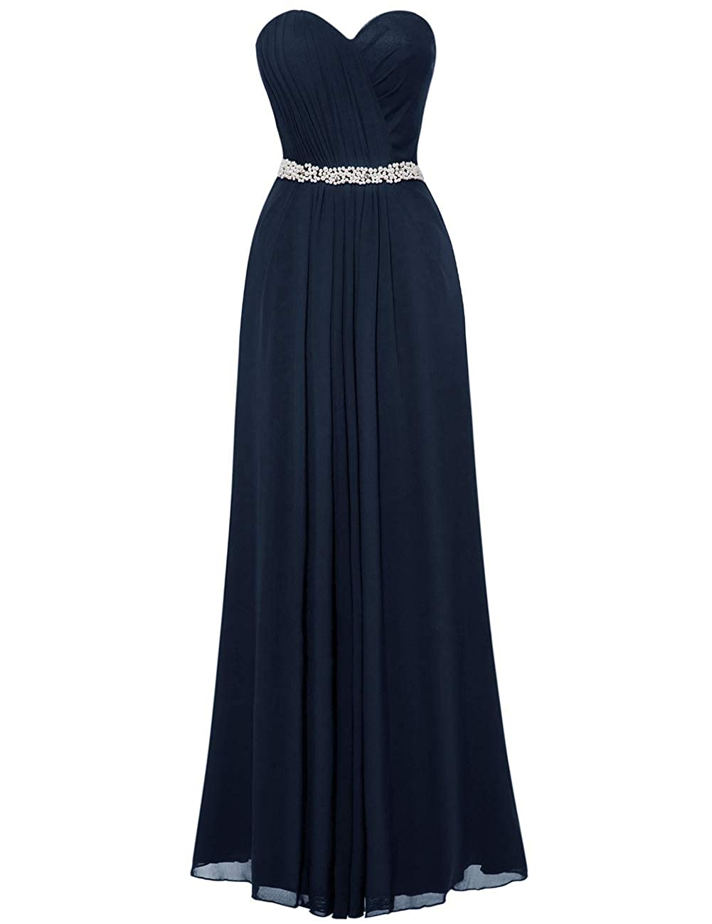 Navy bluee Uther Bridesmaid Dresses Sweetheart Pleats Long A Line Beaded Formal Women Prom Gown