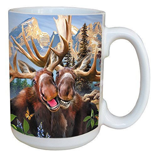 Tree-Free Greetings LM46915 Two Moose Selfie 15 Ounce Ceramic Coffee Mug with Full Sized Handle