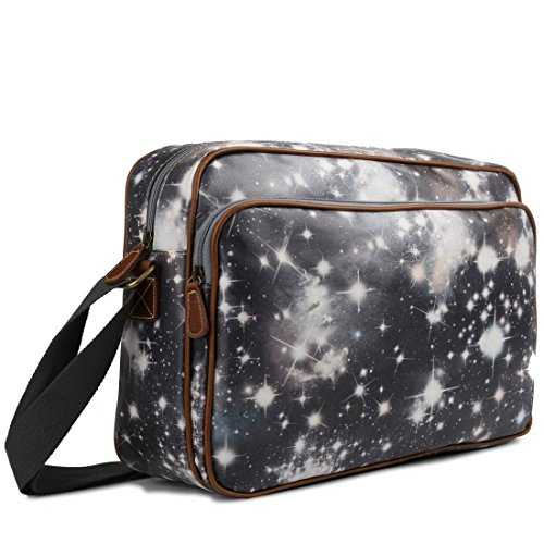 Miss Lulu Matte Finish Oilcloth Satchel Messenger Bag (Universe Black)