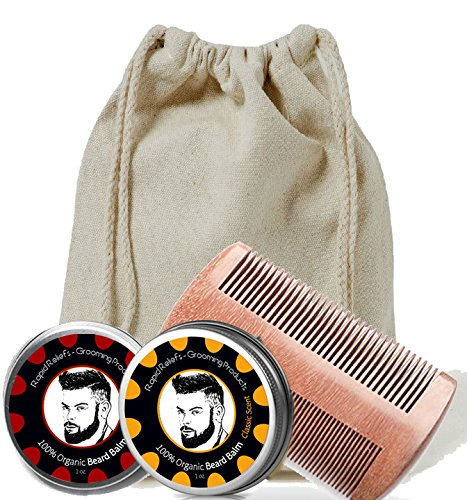 Beard Gift Set - All-In-One Beard Care Kit with two sided Wooden Beard/Hair Comb and Two Beard Balms 100% organic (Cedarwood and Classic - 1oz) - Packaged in Gift Canvas - Rapids Cedar Stores In