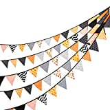 24 Pcs/23 Feet Fabric Banner,Colored Pennant Flag,Vintage Triangle Bunting,Hanging Cotton Garland for Baby Birthday Shower,Wedding Theme Party,Window Decorations(Orange).