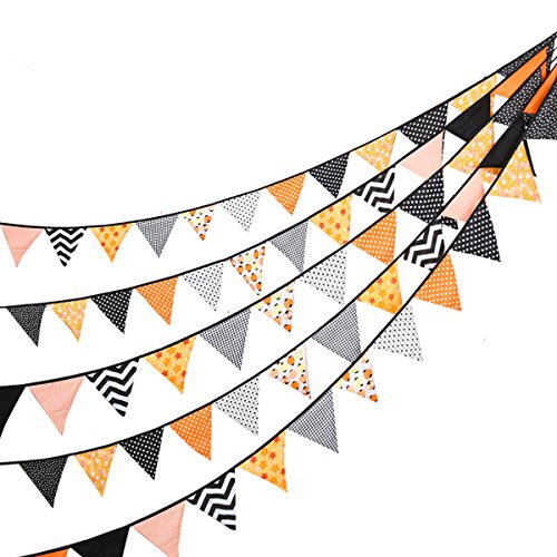 Happy Halloween Garland (24 Pcs/23 Feet Fabric Banner,Colored Pennant Flag,Vintage Triangle Bunting,Hanging Cotton Garland for Baby Birthday Shower,Wedding Theme Party,Window)