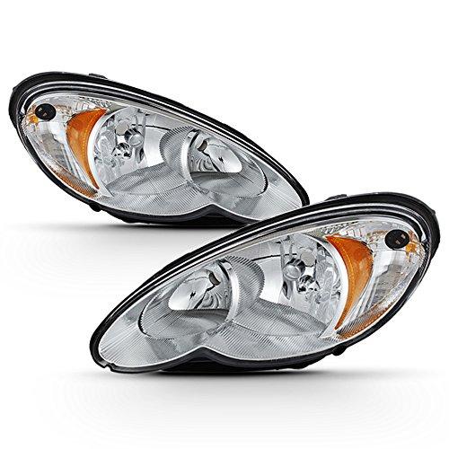 ACANII - For 2006-2010 Chrysler PT Cruiser Chrome Headlights Headlamps Head Light Lamp Replacement Driver+Passenger Side ()