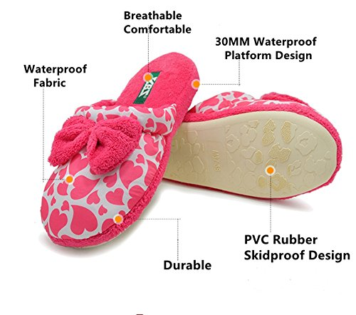 Polliwoo Zapatillas de algodón Fluff Invierno Interior Casa antideslizantes Calzado para mujer Red