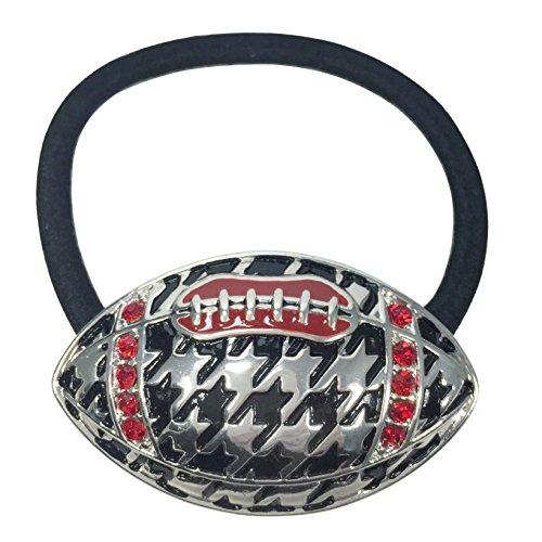 Houndstooth Football with Red Rhinestones Silver Tone Pony Tail Holder or Stretch Bracelet - Pony White Bracelet