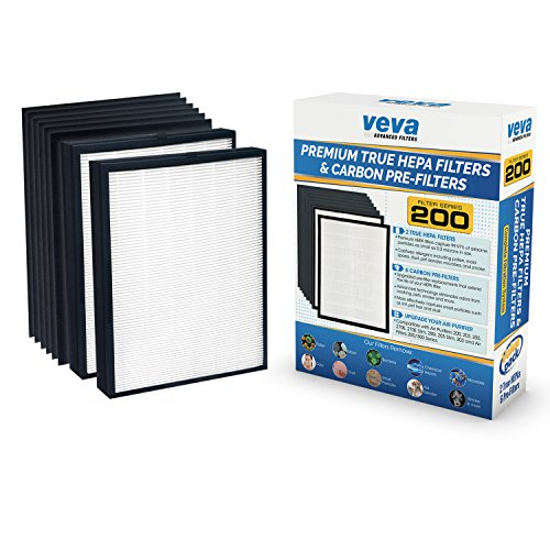 (VEVA Premium 2 True HEPA Replacement Filter Pack with 6 Activated Carbon Pre Filters to Stop Smoke Odor Dust for Blueair 200/300 Series Models 201, 203, 205, 215B, 250E, 270E, 303 Air Purifiers)