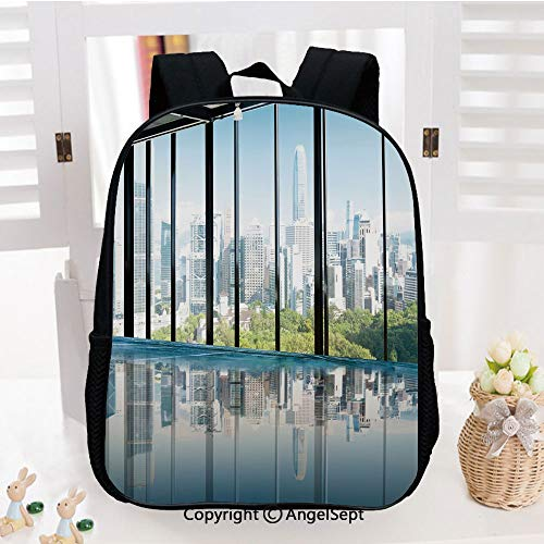 School Backpack,Metropolitan Cityscape of New York Usa in Central Park Forest Photo School Bags Student Stylish Book Bag Daypack for Little Boys and Girls,Sky Blue and Green