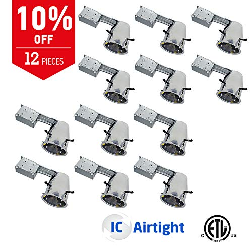 - OSTWIN 4 Inch Line Voltage Remodel Ceiling Can Air Tight IC Rated Housing E26 Standard Base LED Recessed Downlight Retrofit Kit Pot lights Commercial & Residential Lighting 120V (12 Pack) ETL Listed