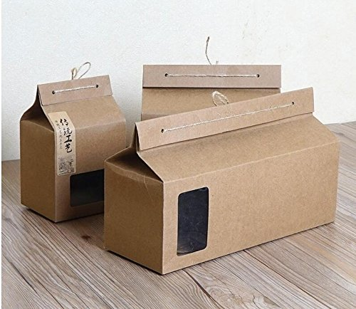 Lavenz 10pcs Large small Kraft Cake Box Bakery muffin biscuits hand packing mousse dessert Cake Kraft Paper Box with window [Size : 270x100x153mm]