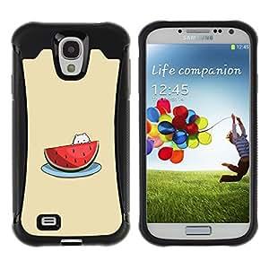 WAWU Funda Carcasa Bumper con Absorci??e Impactos y Anti-Ara??s Espalda Slim Rugged Armor -- watermelon cute cat beige fruit -- Samsung Galaxy S4 I9500