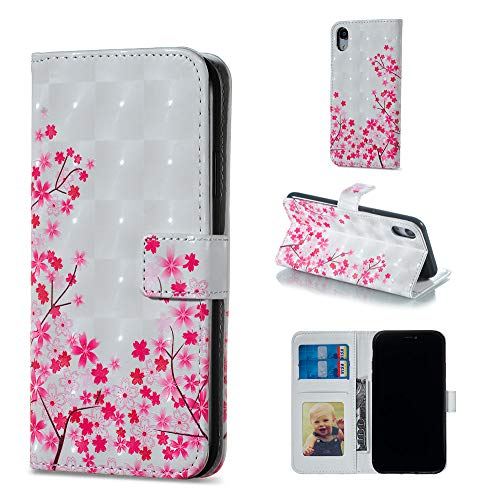 """Amocase Wallet Leather Case with 2 in 1 Stylus for iPhone XR 6.1"""",Premium Slim Cute 3D Painting Shockproof Magnetic PU Leather Card Slot Stand Case - Peach Blossom"""