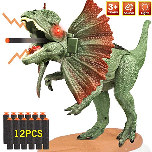 Dinosaur Toys, Vimpro Dinosaur Shooting Bullet Toys Realistic Dinosaur Toys for Kids, Great Gift Triceratops Dinosaur Toys with Bionic Sounds and Lights for Children