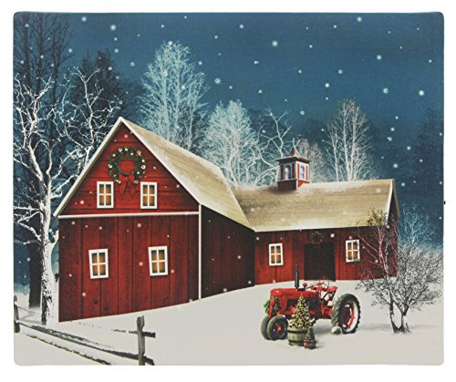 Oak Street Wholesale 10' x 8' LED Lit Winter Holiday Barn Tabletop Canvas