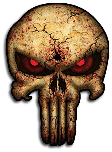 (3D Reflective Eyes Bone Punisher Skull Cracked American Flag Vinyl Decal Stickers Car Truck Sniper Marines Army Navy Military Jeep Graphic 5