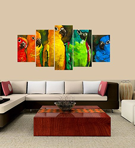 Parrot Photo Frame (Premium Quality Canvas Printed Wall Art Poster 5 Pieces/5 Pannel Wall Decor Parrots in the colors of the rainbow Painting, Home Decor Pictures - With Wooden Frame)