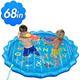 """Mizzuco Inflatable Outdoor Sprinkle Water Play Mat 68"""" Children Summer Splash Pad Sprinkler Water Toys for 3--12 Years Kids Swimming Party"""