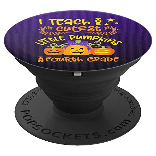 Teacher Halloween Design 4th Fourth Grade Cute Pumpkin Gift - PopSockets Grip and Stand for Phones and -