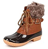 Nature Breeze Duck-01 Women's Chic Lace Up Buckled Duck Waterproof Snow Boots, TPS Duck-01 Tan Size 8.5