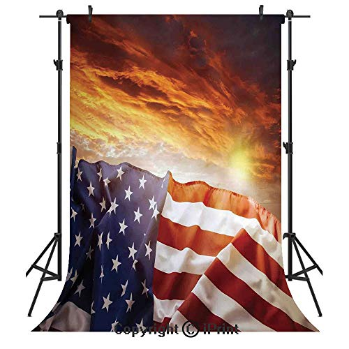 American Flag Decor Photography Backdrops,Flag in Front of Sunset Sky with Horizon Light America Union Idyllic Photo,Birthday Party Seamless Photo Studio Booth Background Banner 10x20ft,Multi ()