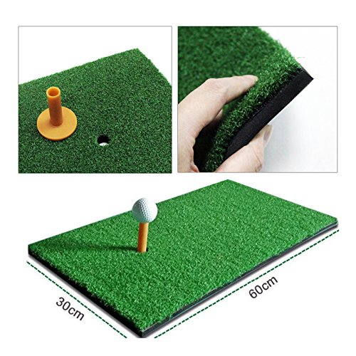 Golf Mat ,Gintai 12″x24″ Residential Portable Golf Hitting Mat,Launch Pad Golf Practice Mat with Tee Hole Holder Grass