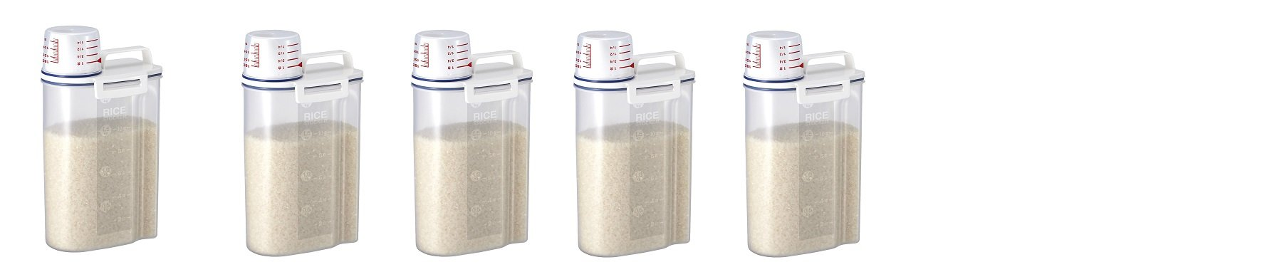 Rice Storage Bin with Pour Spout by Asvel 2kg (5 PACK)