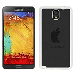 Custom and Personalized Cell Phone Case Design with Funny Subtle Apple Think Different Logo Dark Galaxy NOTE 3 N900P Wallpaper in White