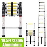 10.5Ft 3.2M Extendable Alminium Ladders Telescopic Folding Extending Portable 11 Steps Loft Extension Ladder DIY Multi Purpose UK Stock