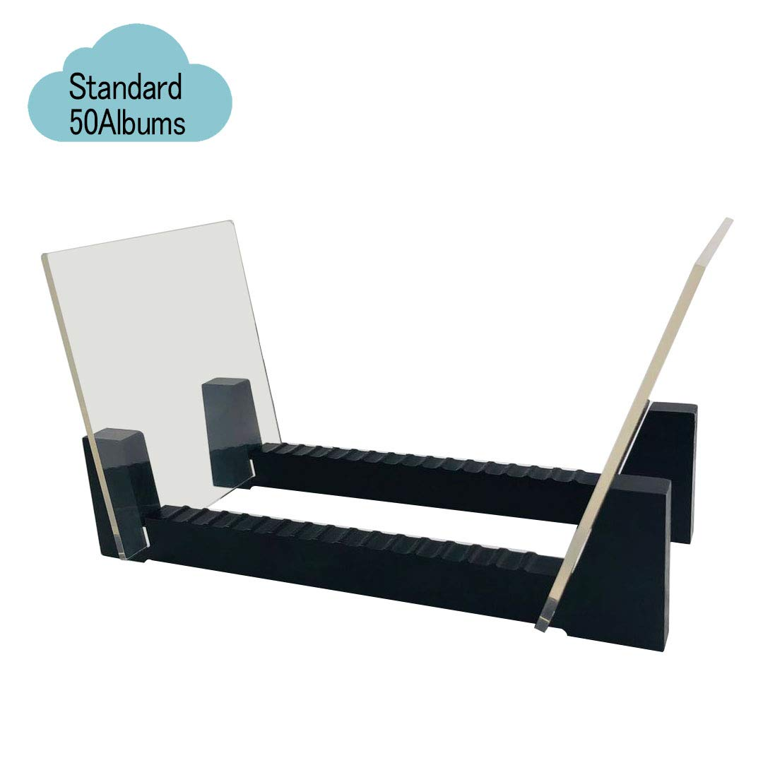 Yonor Vinyl Record Storage Holder Desktop Wooden 35 Albums Display Stand Clear Acrylic Mini, Natural