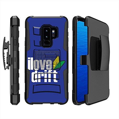 ([Mobiflare] Armor Phone Case for Samsung Galaxy S9+ [Black/Black] Blitz Dual Layer Cover with Holster - [I Love Drift])